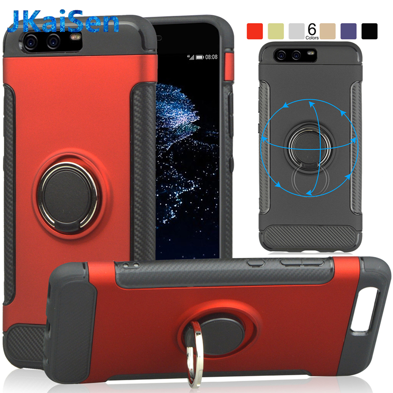 Luxury Car Bracket Ring Magnetic Adsorption TPU Protective Case For Huawei P10 Cover Plus