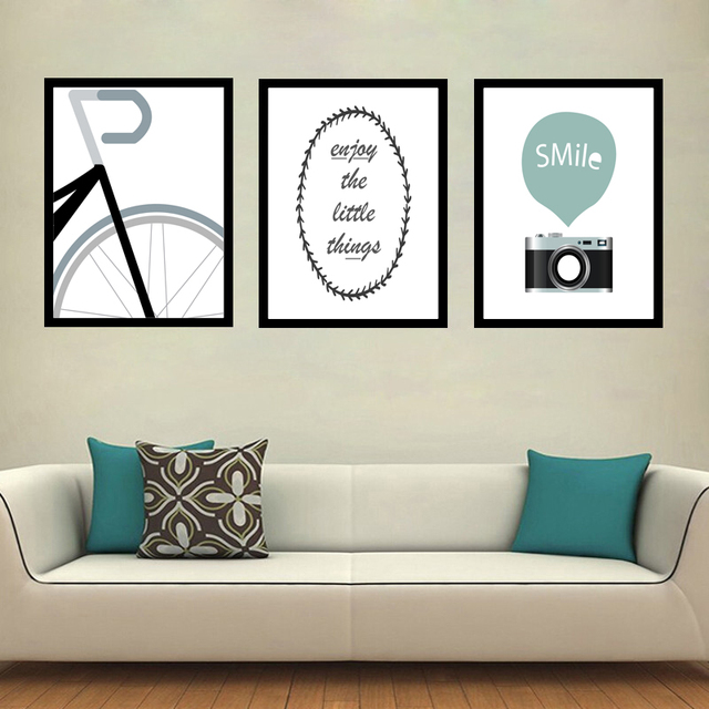 Nordic Abstract Bicycle Art Canvas Prints Posters Wall Painting Pictures For Kids Bedroom Baby Nursery Decor