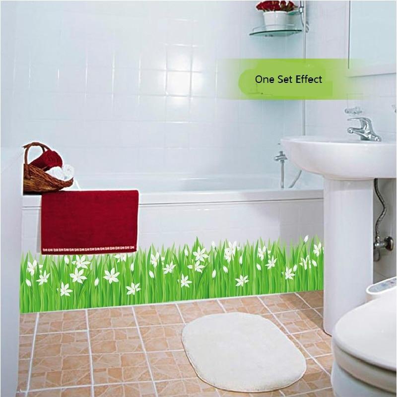 2018 new arrival decorative wall stickers small lily grass kickline removable bath room decor sticker mural DIY art poster