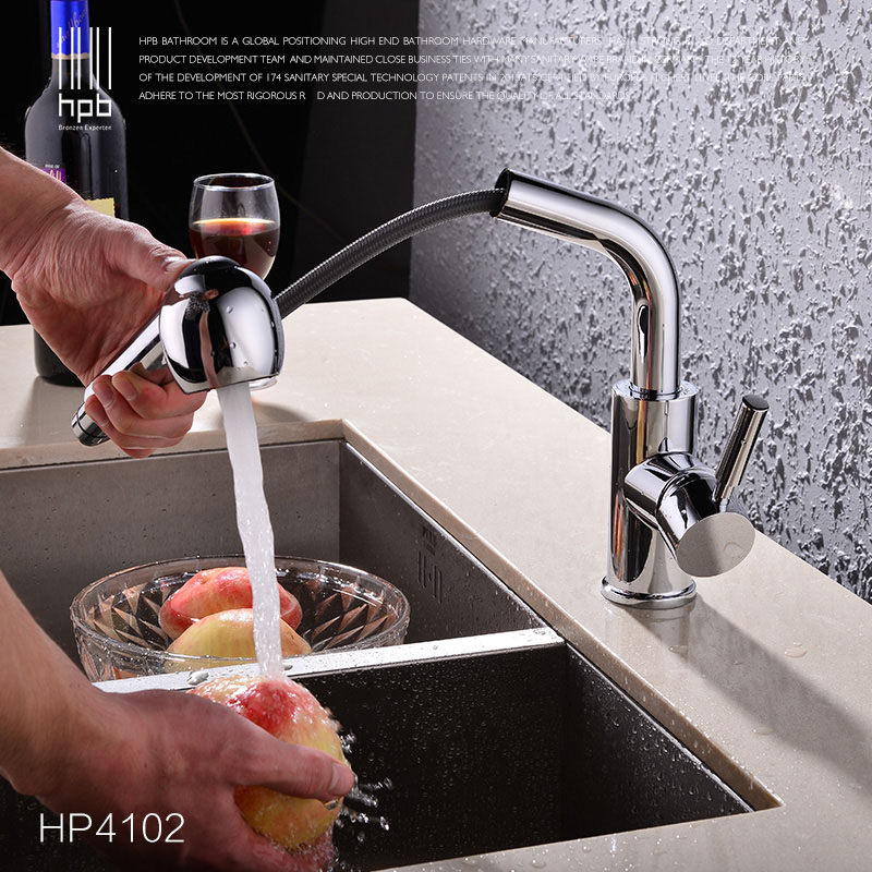 HPB Free Shipping Pull Out Kitchen Faucet Sink Mixer Tap Cold Hot Water taps Deck Mounted Chrome Swivel Spout With Spray HP4102 kitchen chrome plated brass faucet single handle pull out pull down sink mixer hot and cold tap modern design