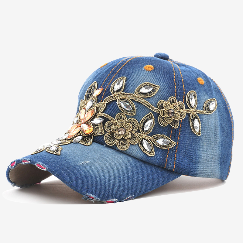 COKK Women's Baseball Cap Diamond Painting Embroidery Flower Denim Snapback Hats Jeans Woman Female Cap Cowboy Summer Sun Hat