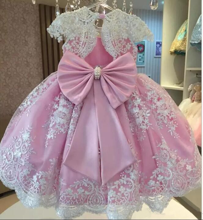 Здесь можно купить  2019 New Pink White Lace Flower Girls Dresses Puffy Tulle Bow Ankle Length First Birthday Dresses Girls Pageant Gown Custom Made  Детские товары