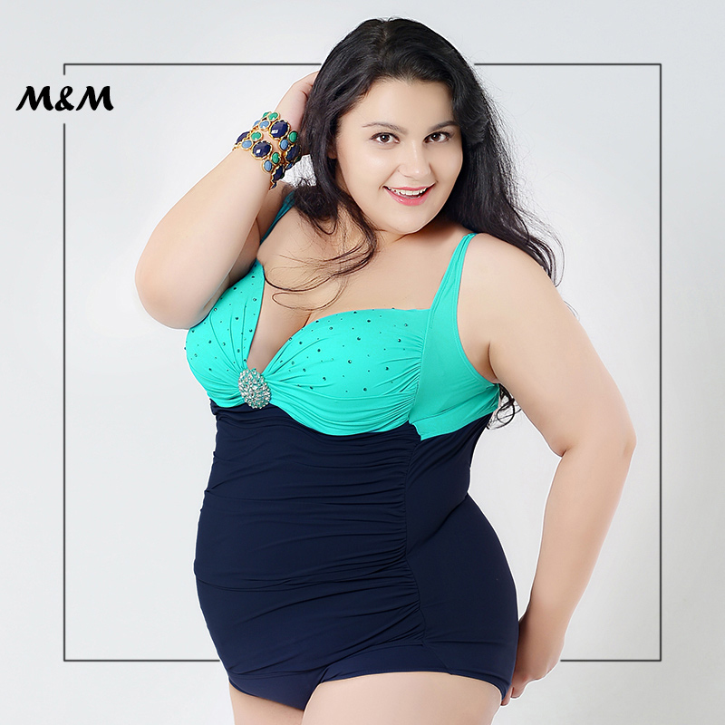 M&M Sexy Low-Cut Gather Backless Bandage Plus Size One-Piece Swimsuit Women Big Size Dots And Solid Print Large Size Swim Wear plus size scalloped backless one piece swimsuit