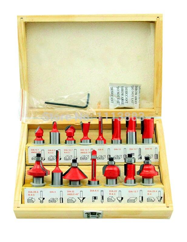 15PCS 1/2 Shank Diameter, TCT Router Bit Set in a Wooden Box