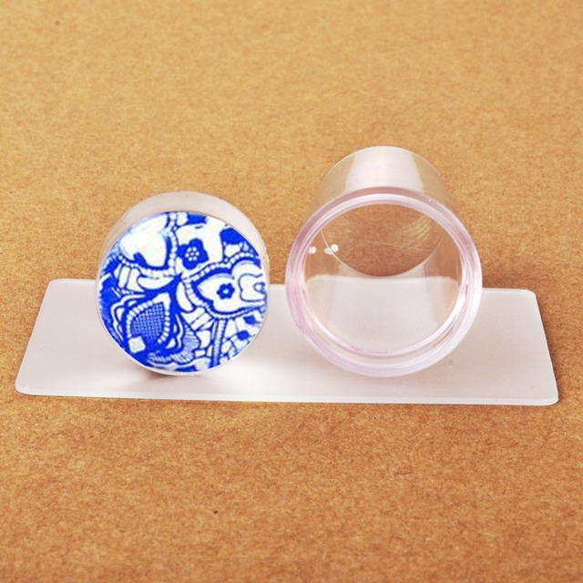 Biutee New Design Pure Clear Jelly Silicone Nail Art Stamper Scraper with Cap Transparent 2.9cm Nail Stamp Stamping Tools
