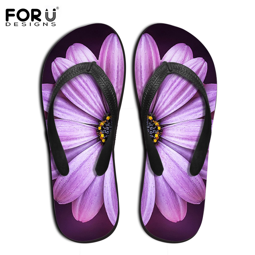 FORUDESIGNS Women's Slippers Fashion Woman Summer Beach Sandals Female Flower Patter Flip Flops Leisure Flats Shoes Flip-Flops недорго, оригинальная цена