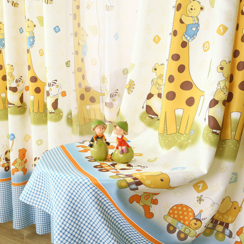 Curtains for Kids Room Giraffe Cute Cartoon Animals Half Shading  Tulle Cloth
