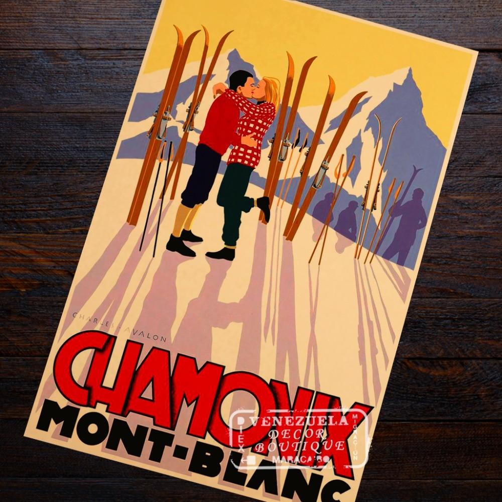 Chamonix Mount Ski Love Pair Romance Travel Retro Vintage Poster ...
