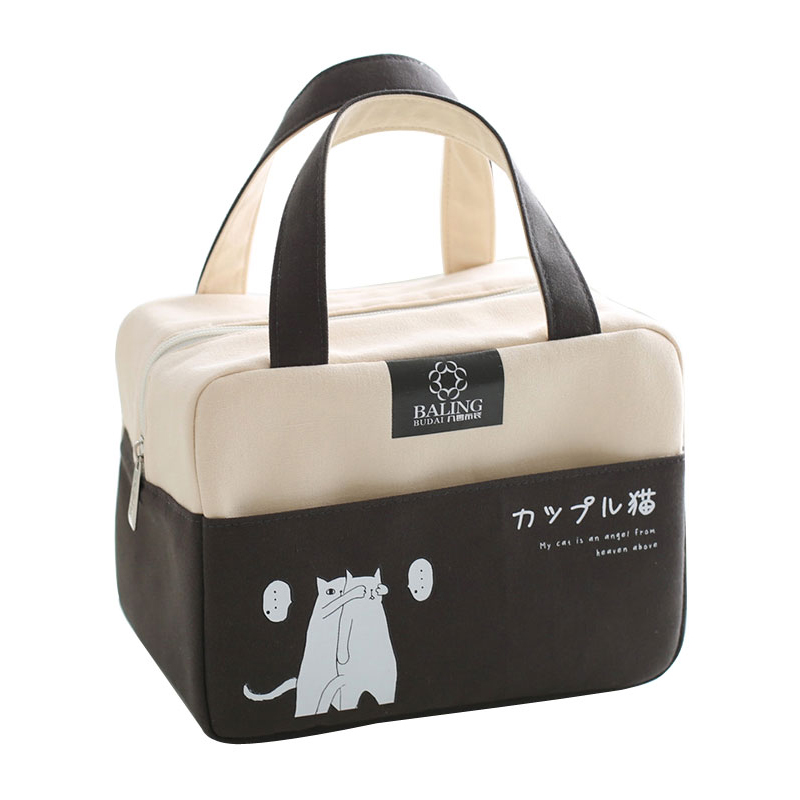 Canvas Thicken Lunch Bags Women Thermal Insulated Cooler Pouch Handbag Kid Bento Box Picnic Food Organizer Accessories Supplies 2 layers family cooler bags thermal iced drink lunch box picnic food storage shoulder handbag pouch accessories supplies product