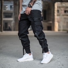 Camouflage Cargo Pants Men Streetwear Hip Hop Multi-pocket Jogger Man Ribbon Track Tactical Military
