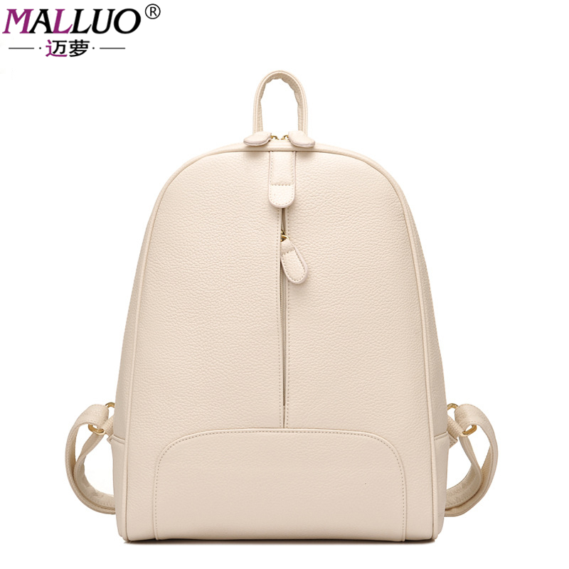 MALLUO Backpacks Preppy Style Leather School Backpack Bag For College Student Solid Design Women Casual Daypacks