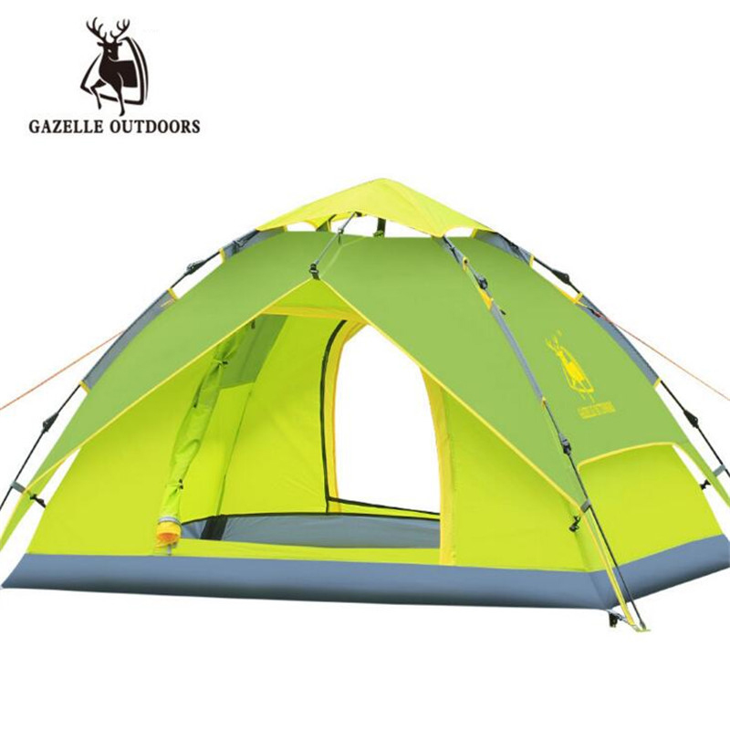 Gazelle 3-4 Person Quick Automatic Opening Tents Camping Climbing Hydraulic Windproof Waterproof Double Layer Outdoor Tent S155 high quality outdoor 2 person camping tent double layer aluminum rod ultralight tent with snow skirt oneroad windsnow 2 plus