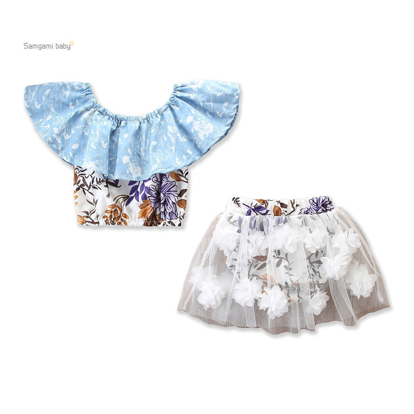2019 Child Women Garments Units Summer time One-shouldered ruffled Tops Shirts+floral skirt shorts youngsters Youngsters's Clothes Go well with Clothes Units, Low-cost Clothes Units, 2019 Child Women Garments Units...