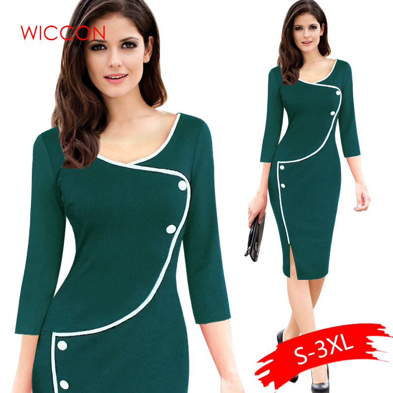 Womens Summer 3/4 Sleeves Elegant Vintage One Piece Dress Suit Work Office Business Casual Bodycon Pencil Party Dress Suit