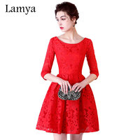Lamya Red Half Lace Sleeve A Line Prom Dresses 2017 Elegant Customized Evening Party Dress For