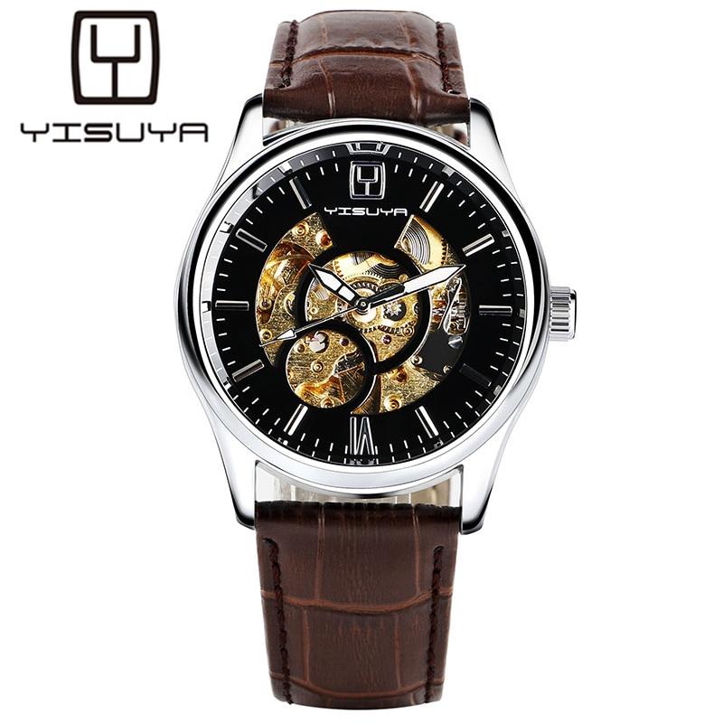 YISUYA Mechanical Watch Men Skeleton Dress Automatic Watches Self Wind Analog Wristwatches Men's Relojes Mecanicos Male Clocks fashion men mechanical hand wind watches men skeleton stainless steel wristwatches for male luxury golden watch men