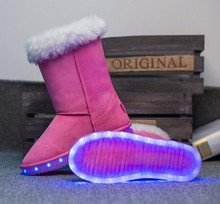 New 2016 Led children snow boots fur winter girls women flat Thicken Shoes For baby Kids child snow fashion boots size 27-40