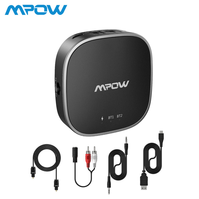 Mpow Bluetooth 5.0 Receiver Transmitter Audio Adapter Support Optical Toslink/Aux/RCA Port APTX HD/low Latency/APTX For TV Car цена 2017