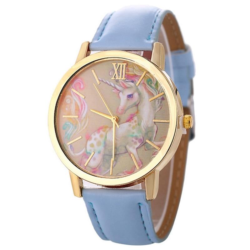 Unicorn Watch Children's Watch Carton Rainbow Animal Kids Girls Leather Band Analog Alloy Quartz Watches Wristwatches