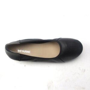Image 4 - BEYARNE zapatos planos de piel auténtica para mujer, Bailarinas de mujer con punta puntiaguda negra de moda, zapatos planos de mujer bailarina de diseñador de marca