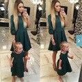 Осень мать дочь платья новый 2017 семья взгляд бренд девушка платье печатные женская clothing соответствующие Лето мама и я одежда