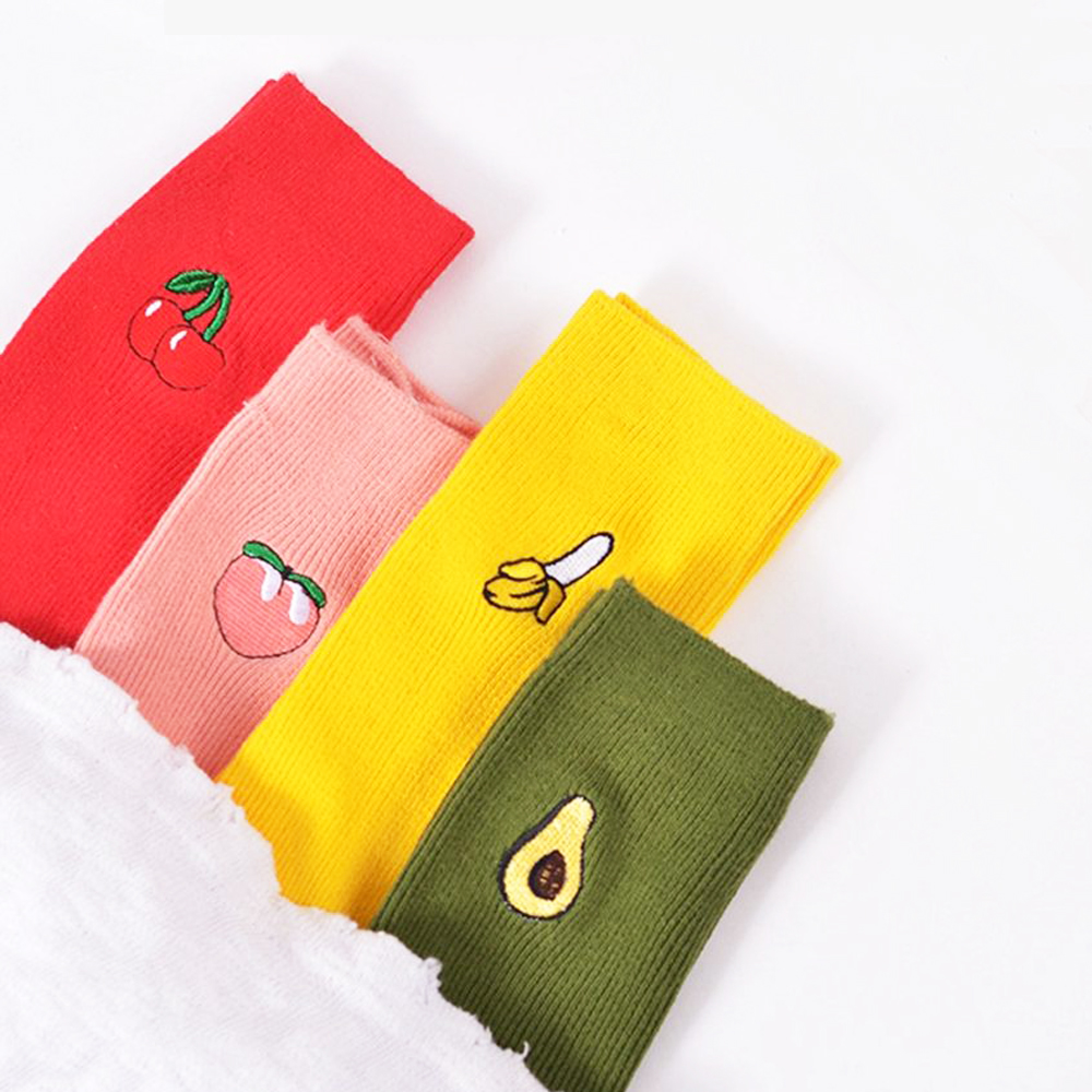 Spring Cute Cartoon Fruit Print Avocado Banana Cherry Peach Girls Kawaii   Socks   Korean Harajuku Embroidery Pile Heap Funny   Socks