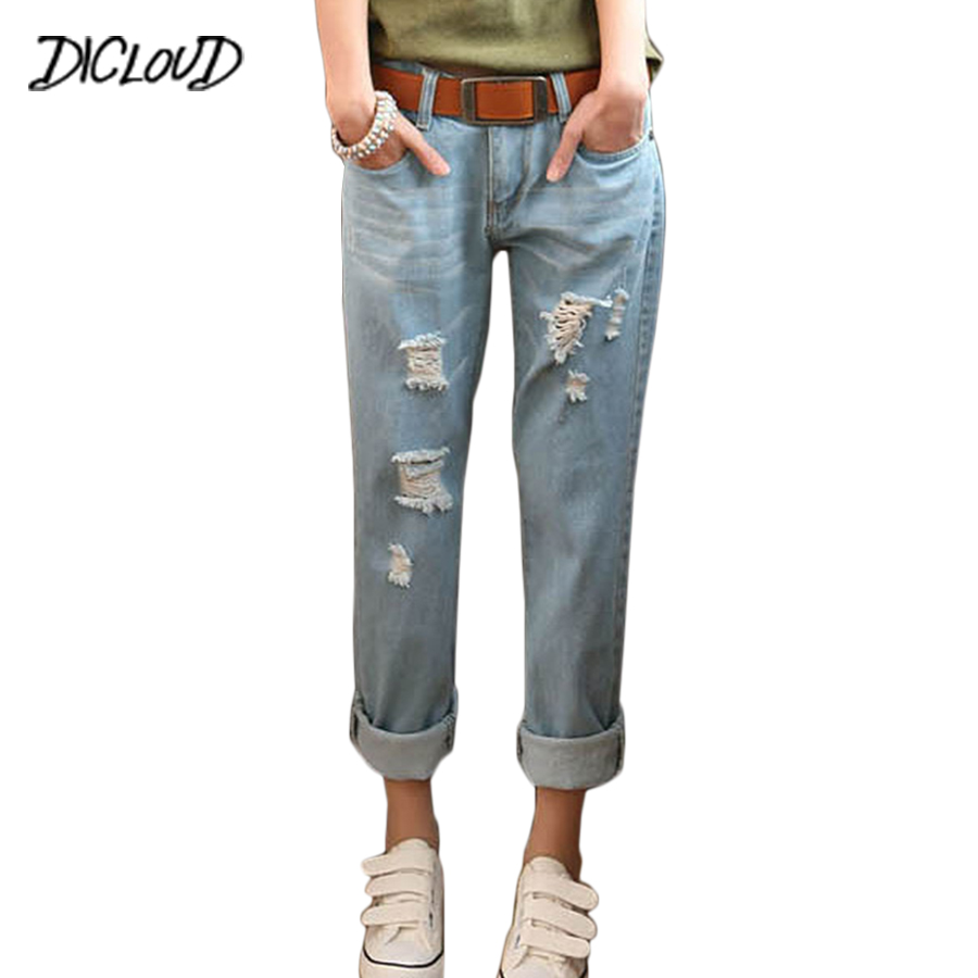 DICLOUD Fashion loose plus size   jeans   women Hole Holon Denim Pants Ladies Crimping large size 5XL boyfriend   jeans   for women