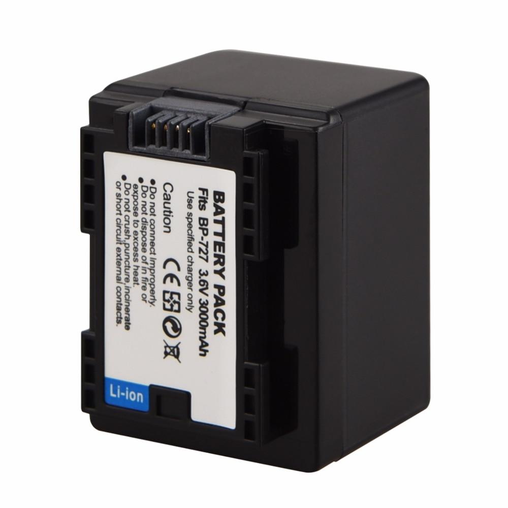 Аккумулятор BP-727 для Canon фотокамера VIXIA HF R30 M50 M52 500 M56 M506 R30032 R36 R38 R306 R400 R500 R60 R62 3,6 В 3000 мАч BP 727 BP727