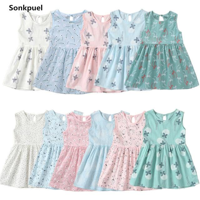 2019 ילדי ילדה שרוולים שמלת 1-7 שנים קיץ בנות Prined פרח שמלות ילדים בגדי תינוק כותנה נסיכת שמלה תלבושות