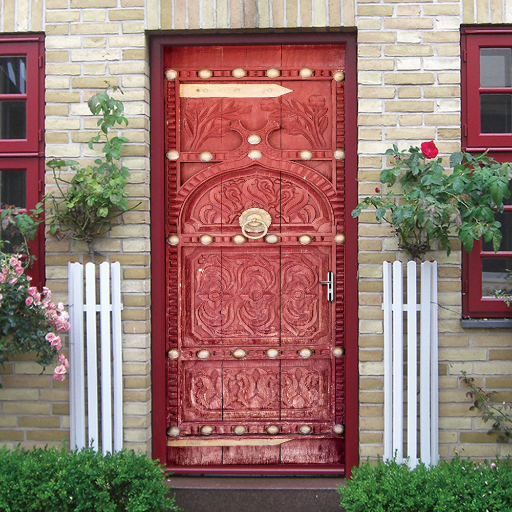 2pcs/set 3D Medieval Retro Style Scarlet Door Art Mural Wall Sticker Home Decor Bedroom PVC Removable Wallpaper Poster retro poster guitar brief history wall sticker