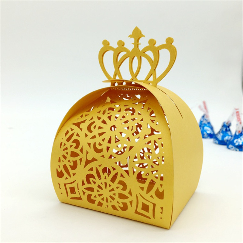 Crown Laser Cut Hollow Flower Gift Candy Boxes Souvenirs Wedding ...