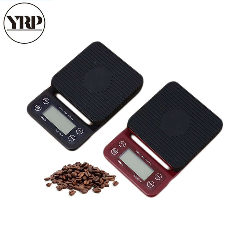 YRP Coffee Scale Portable High Precision LCD 3kg 0.1g Electronic Drip Coffee Scale With Timer Digital Kitchen V60 Barista Tools