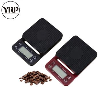 YRP kawy skala przenośny wysokiej precyzji LCD 3kg 0 1g elektroniczna skala kawy kroplówki z zegarem cyfrowa kuchnia V60 barista narzędzia tanie i dobre opinie CN (pochodzenie) Z tworzywa sztucznego Dwuczęściowy zestaw YP-001 19 5*13*2 6 cm Black Red