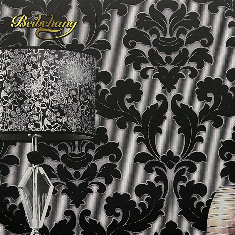 Beibehang papel de parede classic wall paper home decor for Black white damask wallpaper mural