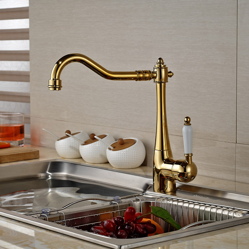 ФОТО Modern Golden Brass Bathroom Kitchen Sink Faucet Deck Mount with Hot Cold Water Mixer Taps