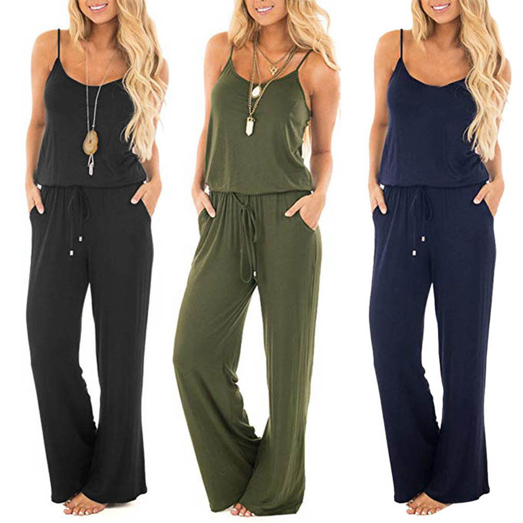 rompers womens   jumpsuit   Sleeveless   Jumpsuit   Ladies Casual Loose Playsuit Long Trousers body femme sexy комбинезон женский#BY35