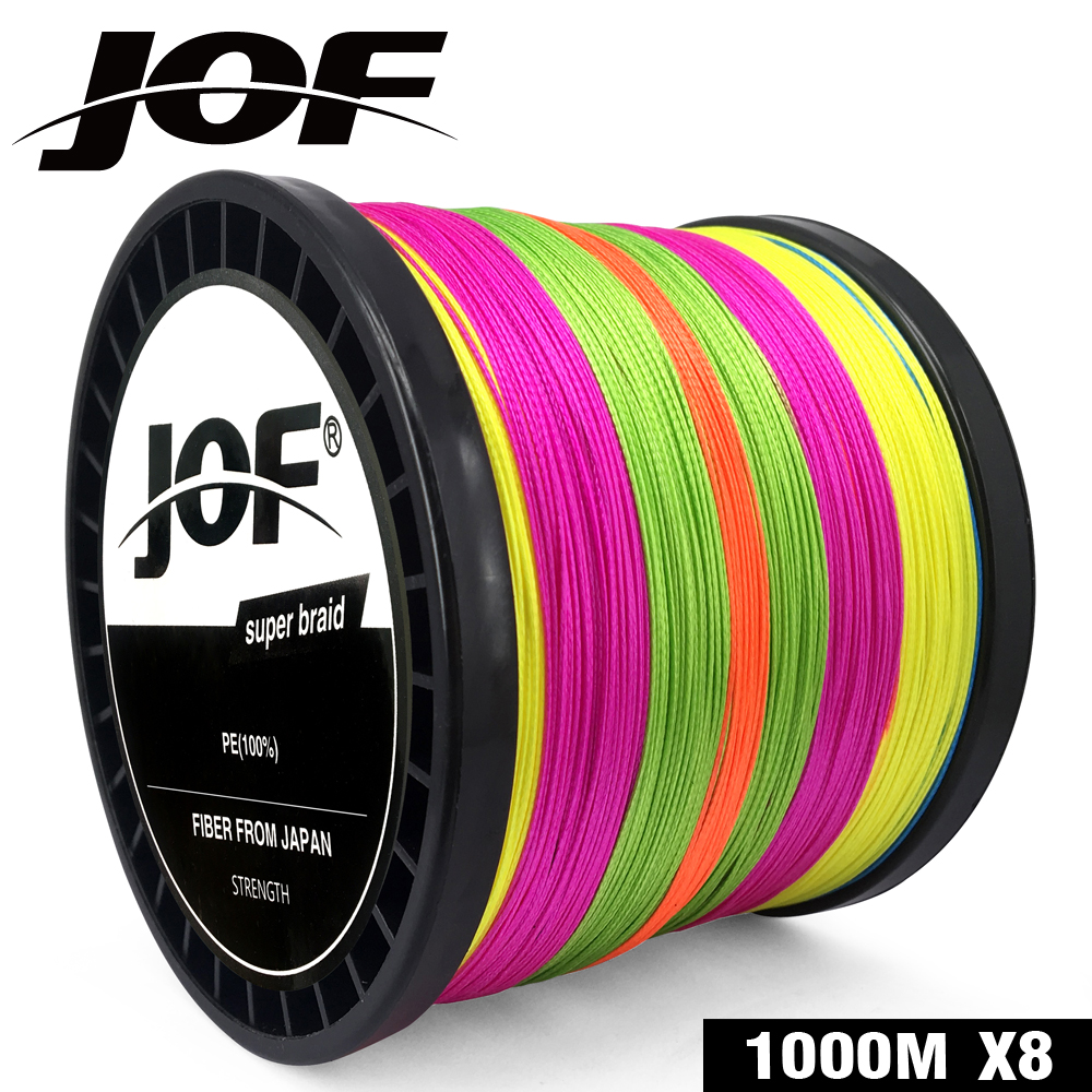 2019 JOF Fishing 8 Strands 100M 150M 300M 500M 1000M PE Braided Fishing Line Saltwater Weave Carp Fishing Cord Pesca Wire
