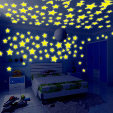 Hot 100Pcs 3D Stars Glow In The Dark Ceiling Wall Stickers Cute Living Home Decor Fashion free shipping new hot 100pcs 3cm 3d stars glow in the dark luminous fluorescent plastic stickers living decor kids