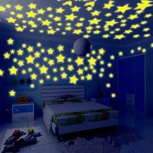 купить Hot 100Pcs 3D Stars Glow In The Dark Ceiling Wall Stickers Cute Living Home Decor Fashion по цене 35.17 рублей