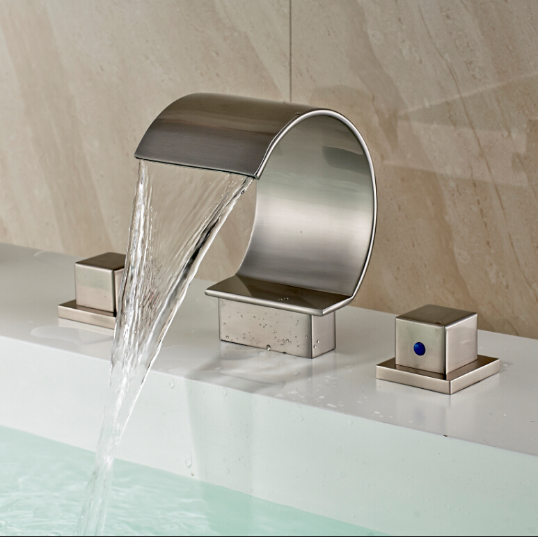 Newly Brushed Nickel Waterfall Bathtub Or Basin Sink Mixer Tap Dual Handles Deck Mounted Basin Sink