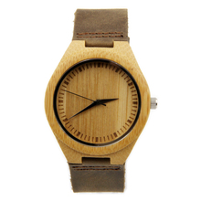 New design japanese miyota 2035 movement wristwatches genuine leather bamboo wooden watches for men and