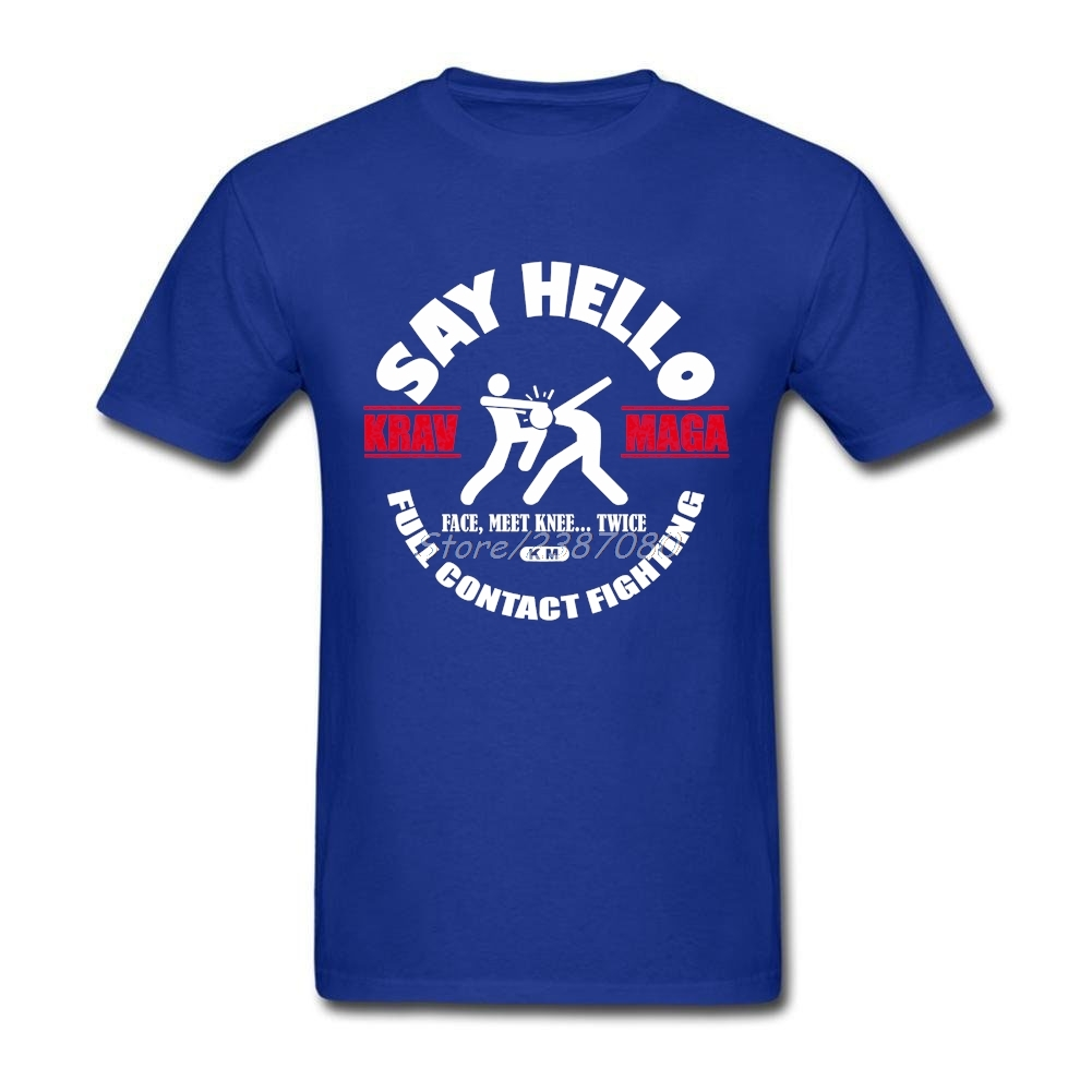 Populaire Krav Maga Dire Bonjour Mn T Shirt Vente Chaude T-shirts Pour Hommes Coton 3XL À Manches Courtes Israël Hommes Chemises