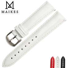 MAIKES Patent Genuine Leather Watch Strap Stainless Steel Pin Buckle White Black Red Watch Band Accessories Bracelets Watchband