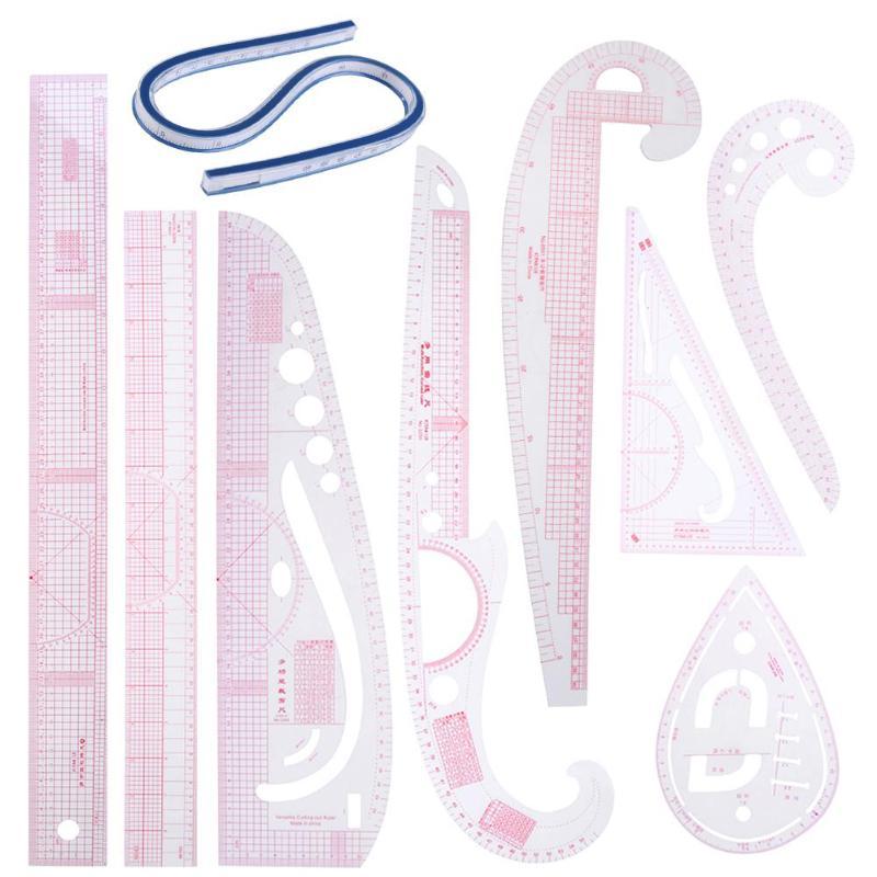 9PCS pink Collar Drawing Tailor Curve Yardstick Sewing Tools Cutting Ruler Tailor Ruler Curve Yardstick Sewing Tools Accessory