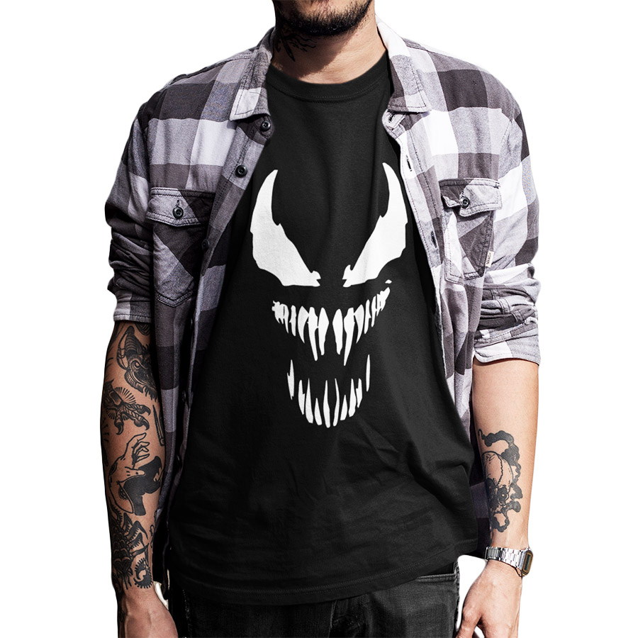 EU Size Venom   T     Shirt   Men Cool Comic Originality Black Cotton   T  -  shirt   Anime High Quality Movie Tops Tee Homme