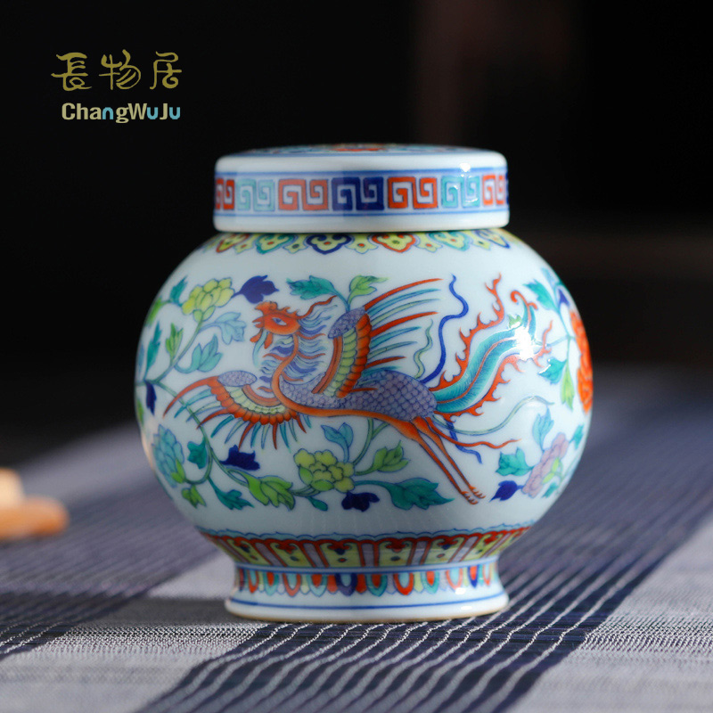Changwuju in Jingdezhen fine tea box the handmade blue and white clashing colour tea cannister as well as storage jar and vase