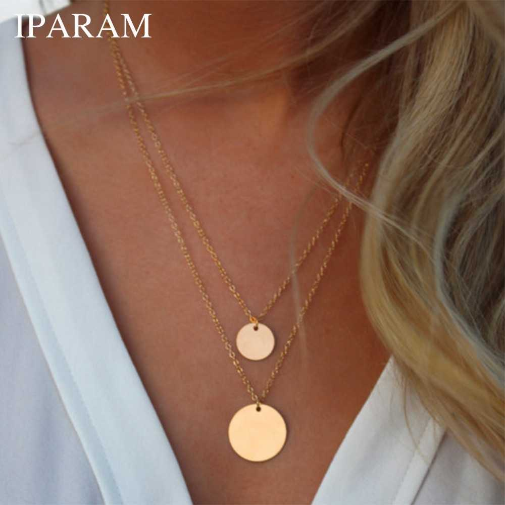 IPARAM Fashion Double Bohemian Round Alloy Pendant Necklace Retro Layered Jewelry Party Gift Jewelry 2019 Women's Necklace