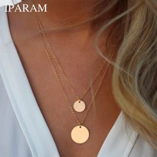 IPARAM Fashion Double Bohemian Round Alloy Pendant Necklace Retro Layered Jewelry Party Gift Jewelry 2019 Women's Necklace(China)