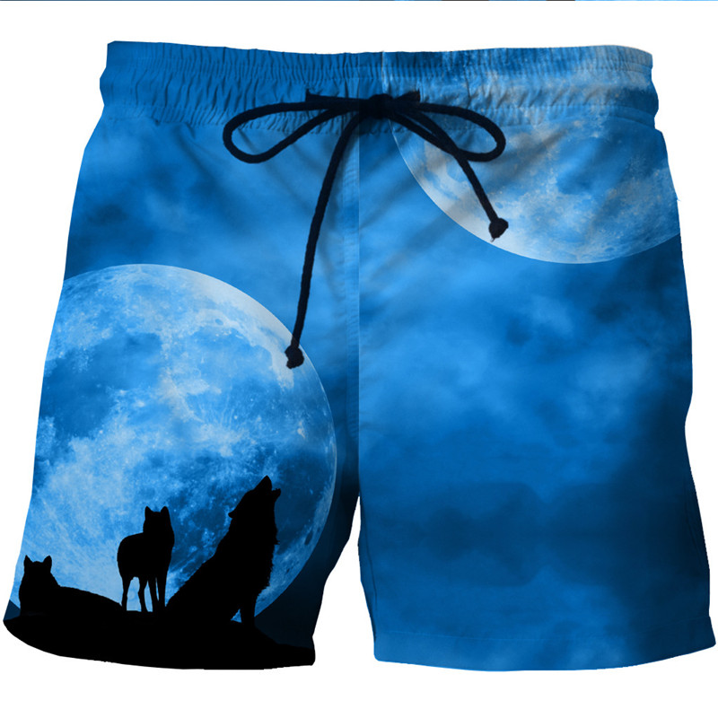 Night Moon Wolf 3D Print Men Loose Beach   Shorts   Male Hiphop Blue   Board     Shorts   Casual Pockets Trousers Oversized 5XL 6XL Harajuku