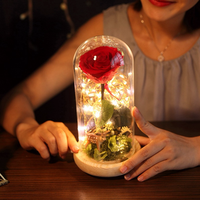 HOT Beauty And The Beast Gold plated Red Rose With LED Light In Glass Dome For Wedding Party Mother's Day Gift